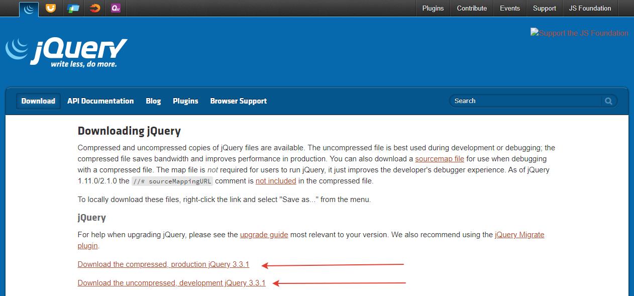 Подключение jQuery пример