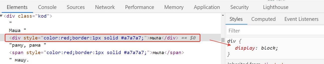 Значение display по умолчанию у div?