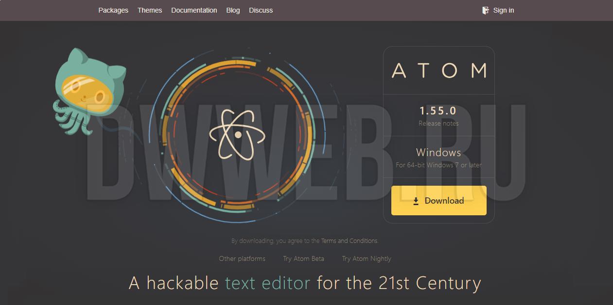 Офф сайт скачать Atom text editor