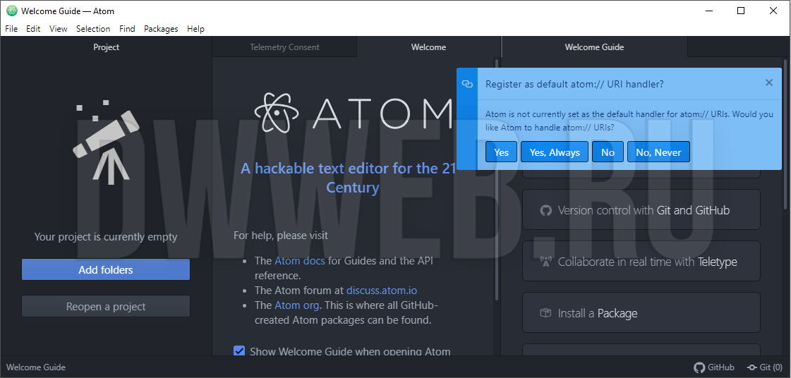 Установленный  редактор Atom