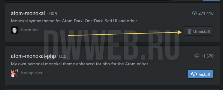 Как загрузить новую тему для редактора Atom.